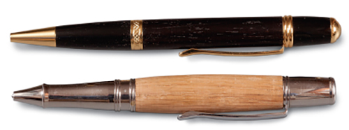 Comparison of two pen turnings one straight and the other bulky