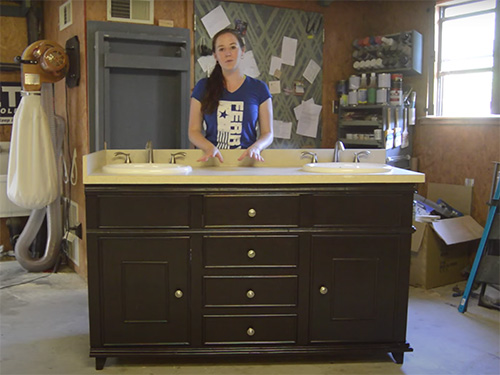 April Wilkerson's completed two sink bathroom vanity project