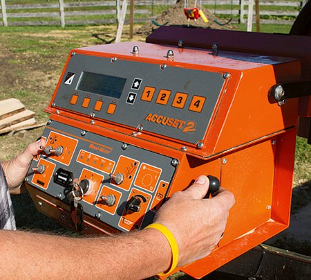 Close look at the control box for setting cutting depth for a band saw mill