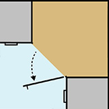 Diagram of the design of a diagonal corner cabinet