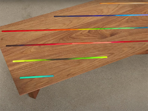 Mid-century modern coffee table with decorative crayon and epoxy design