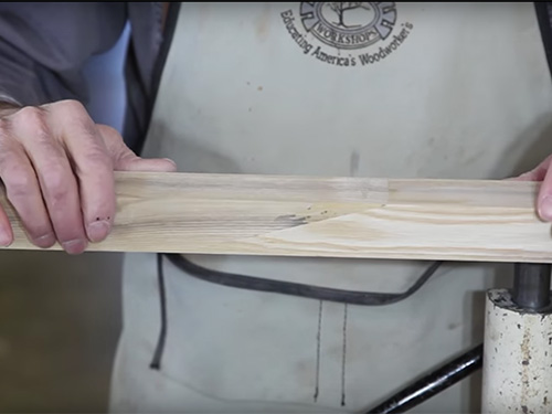 Joining two longer pieces of wood together with a scarf joint