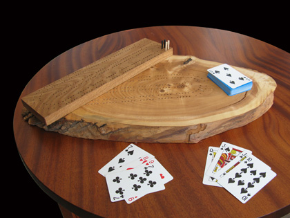 Large and small cribbage boards made with CNC programming