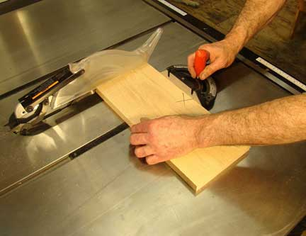 Using miter gauge to aid in board crosscutting