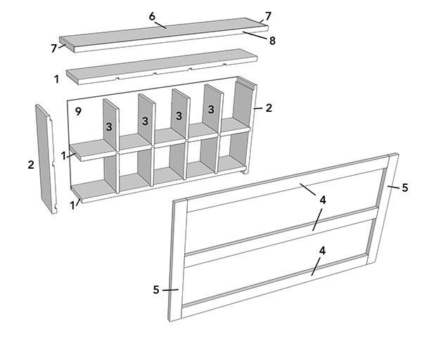 cubby cabinet exploded view
