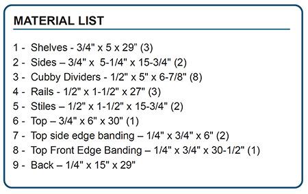 cubby parts list