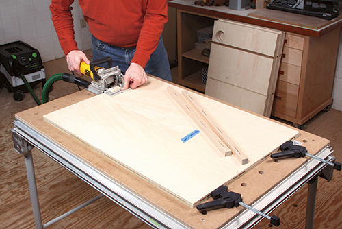 Using domino machine to cut holes for biscuit joinery