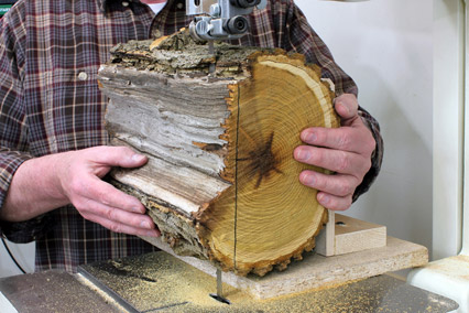 Cutting flat face on log bowl blank with a band saw