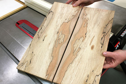 Showing book-matched panels cut with band saw
