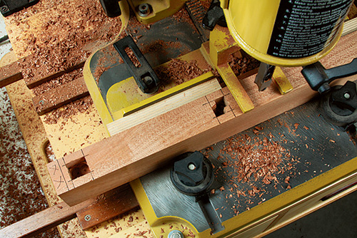 Milling mortises in storage box legs with mortising machine