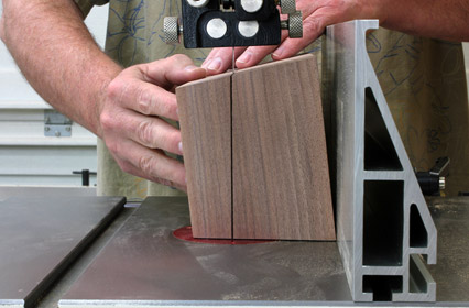 Using band saw to cut lid for continuous grain box