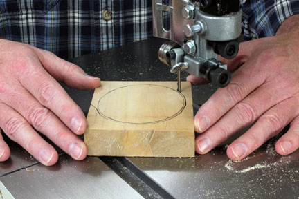 Using a bandsaw to cut out faceplate glue block