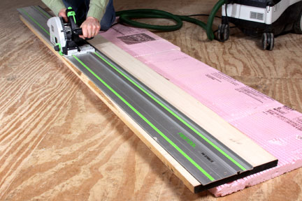 Cutting uneven board with a track saw