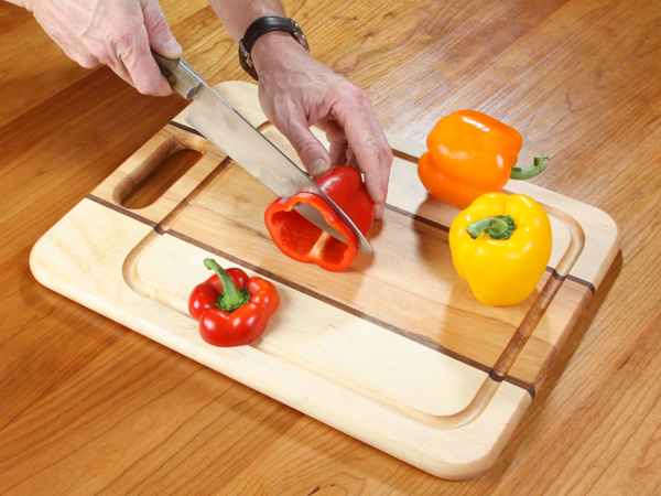 Using a shop made and finished cutting board