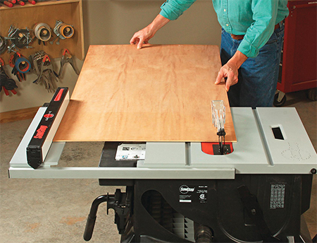 Using Sawstop jobsite saw to cut a panel