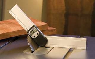 Digital protractor measuring miter cutting angle