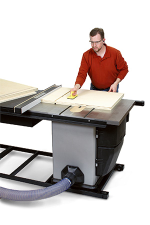 Sawing shelving grooves in miter station side panels