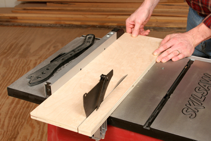 Cutting plywood for tapering jig base