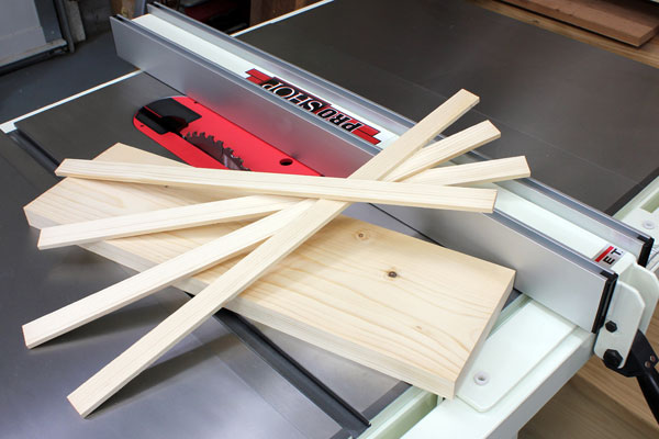 Thin cut wood strips on a table saw