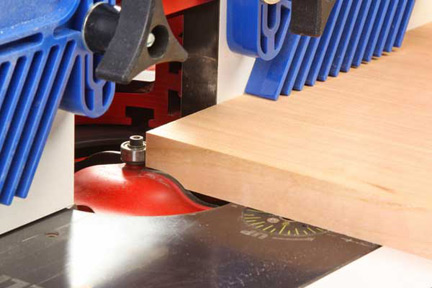 Cutting cabinet panel with a panel raising router bit