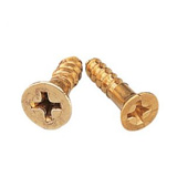 Woodworking screws with a brass finish