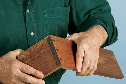 Showing a completed glued-up dovetail joint