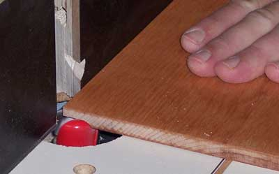 Using a dish caring bit to cut the edging on a panel