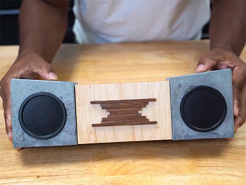 Wireless speakers with concrete and wood body