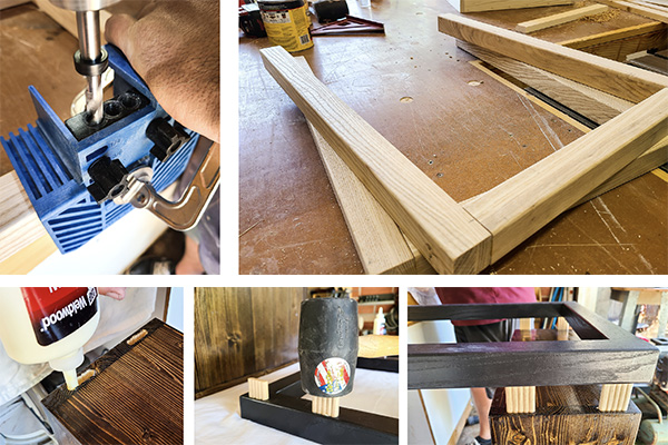 beadlock joinery used to assemble the bench