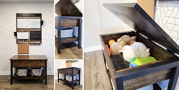 completed diy storage bench set up in a house