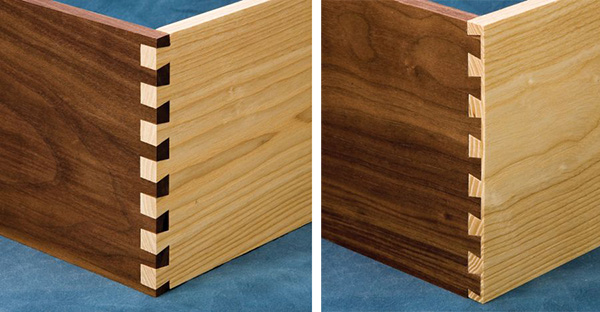 through and half-blind dovetail joints