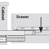 Diagram indicating the drawer member part of a slide