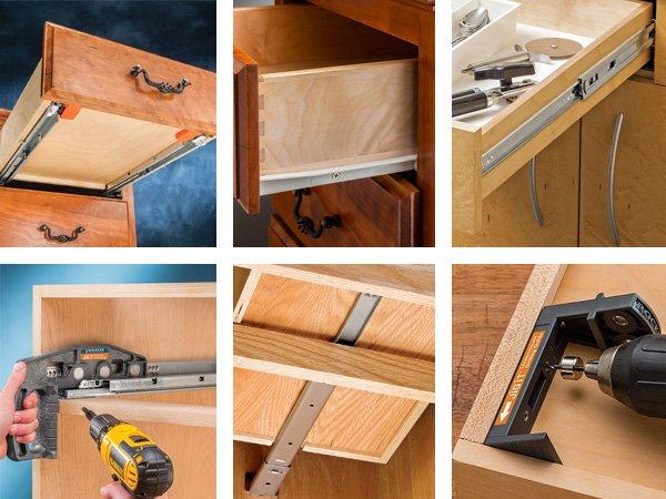 a variety of drawer slides