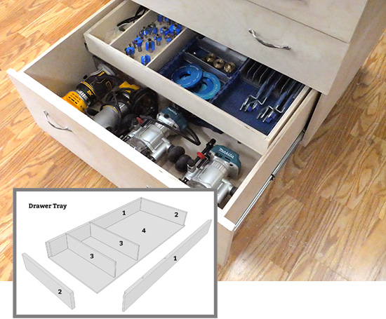 drawer tray installed in a drawer