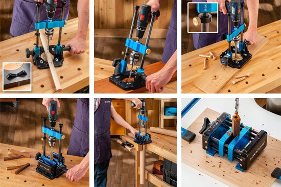 photos showing drill guide and vise in use drilling dowels and pen blanks