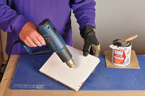 Using a heat gun to make small bubbles in latex paint