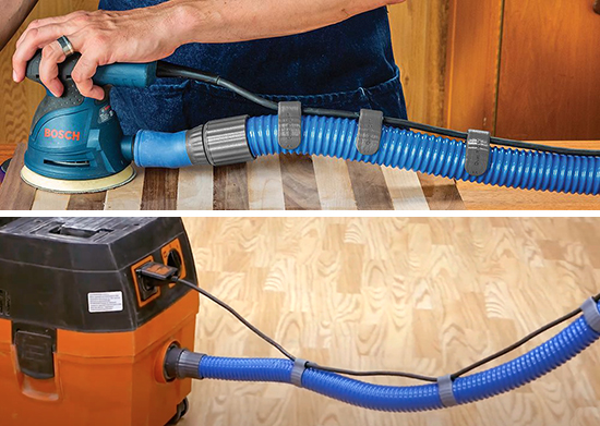 dust hose and tool cord connected by clip
