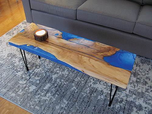 Spalted maple coffee table filled with an epoxy pour