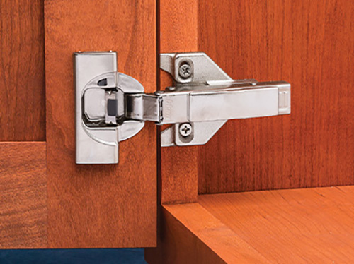 Close-up view of an installed European-style hinge