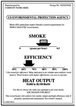 Example of an epa tag for a wood stove heater