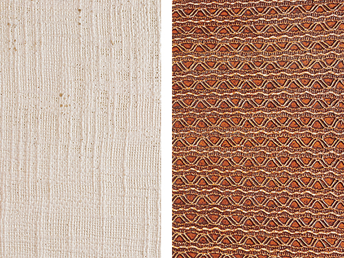 Example of two different textures of a linen wood finish