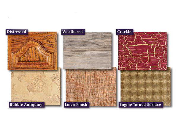 Examples of woodworking finishes with different texturing techniques