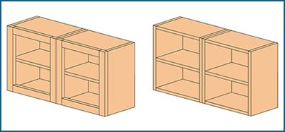 Illustration of faceframe and frameless cabinet types