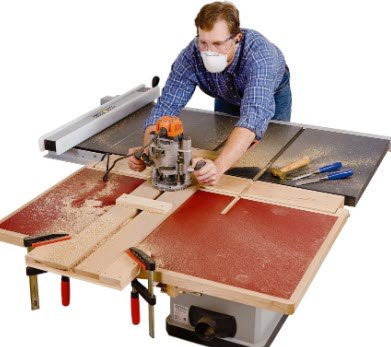 Cutting miter slot in outfeed table with routing jig