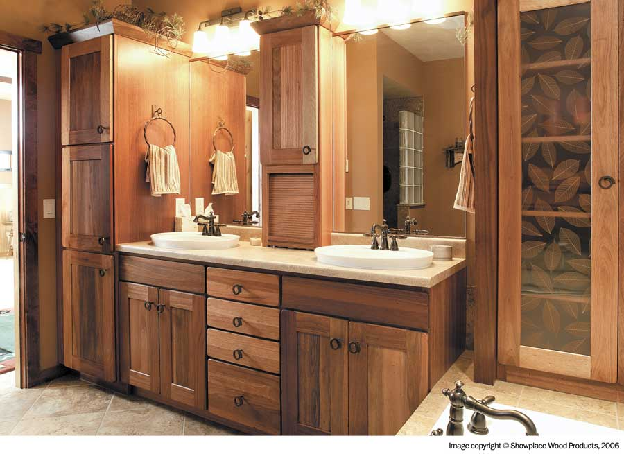 Bathroom vanity and cabinet with wood covering