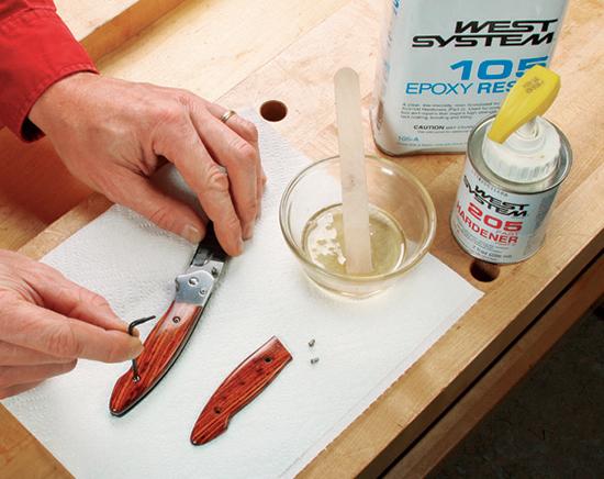Finishing knife handle with acetone and epoxy