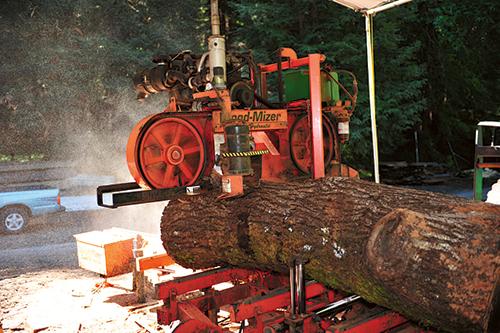 Wood mizer saw mill making first cut on a log