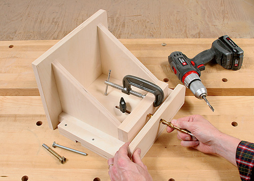 Marking centerpoint for adding adjustment bolt to tenoning jig