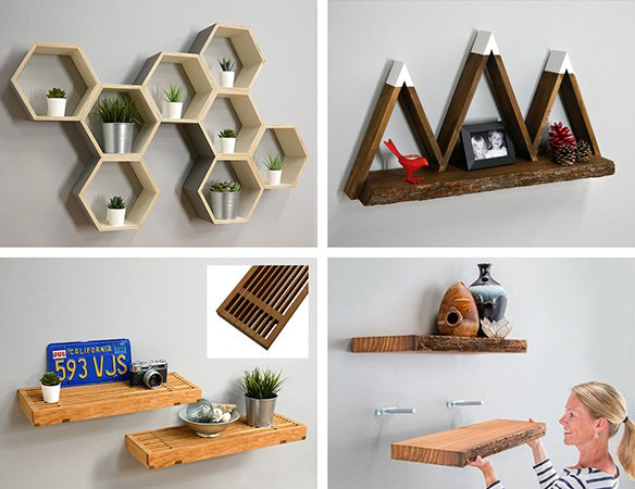 four examples of floating shelf projects