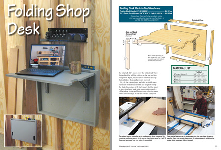 Lead image page and drawings for folding shop desk project
